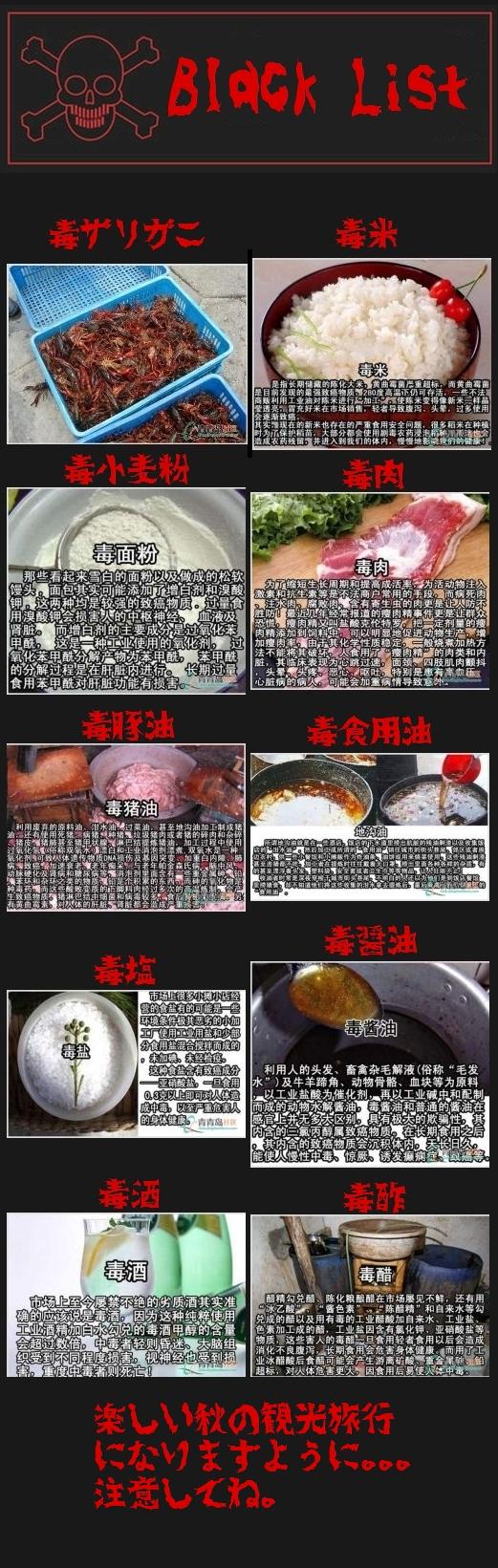 危険な中国の食べ物とか調味料