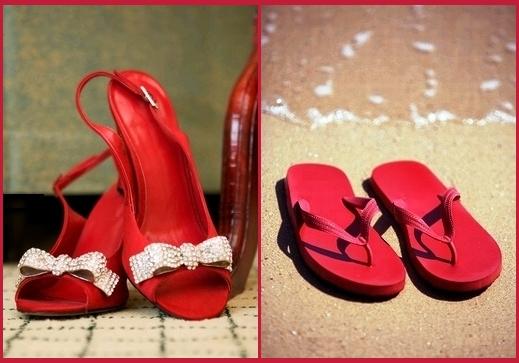 赤い靴のビーチサンダル