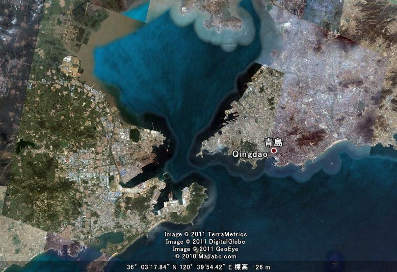 青島(胶州湾)上空
