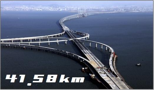 青島海湾大橋は全長41.58km。世界NO.1の長さ。