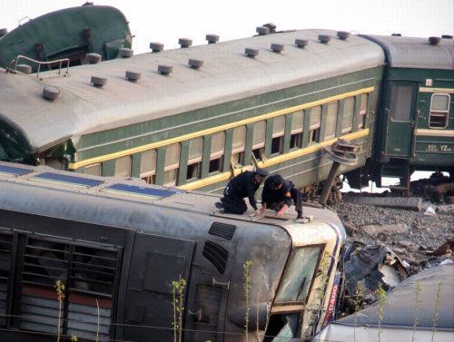 2008年に山東省で起きた列車衝突事故