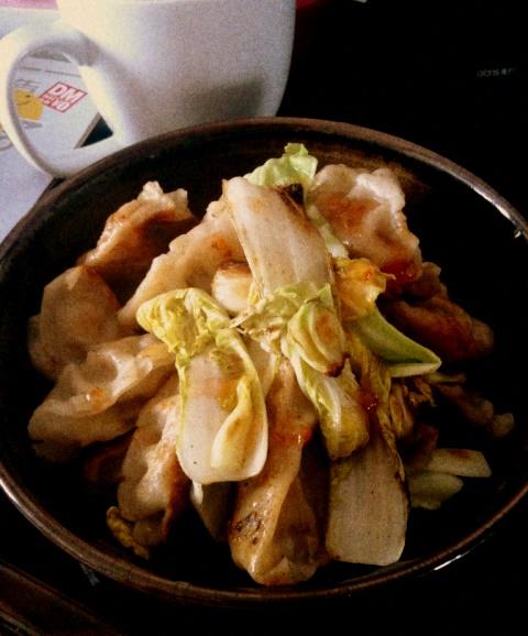 焼き餃子と白菜
